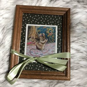 Vintage Mixed Media Brown Mouse Artwork
